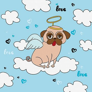 Pug Angel with Wings, Halo by pugmom4