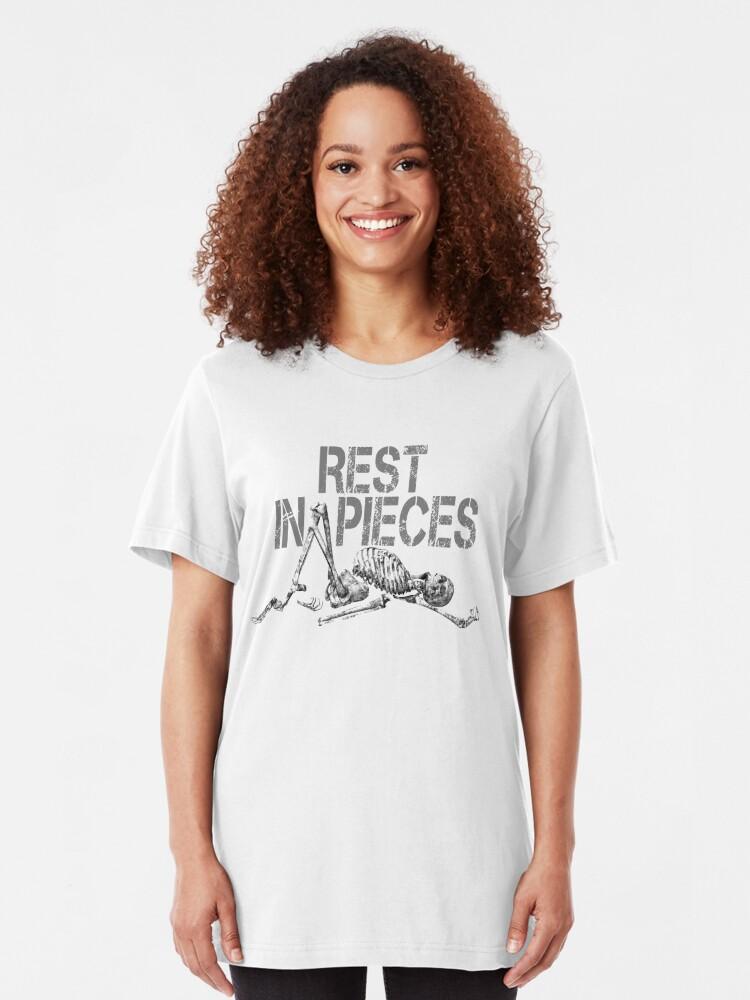 Alternate view of Rest in Pieces Skeleton Design Slim Fit T-Shirt