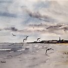 Sand, Sea and Gulls by Glenn Marshall