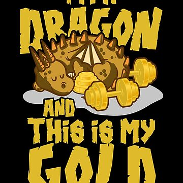 Funny Lifting Gym Dragon - Weights Exercise by PrintPress