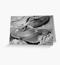 silver brazilian sandals of strips flipflops Greeting Card