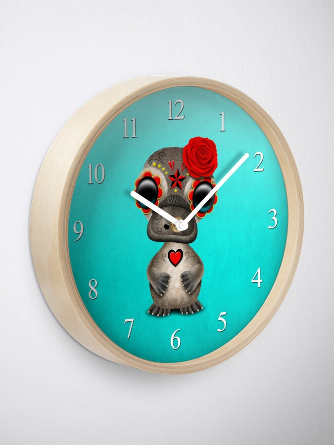 Alternate view of Red Day of the Dead Sugar Skull Baby Platypus Clock