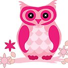 Cute Pink Owl on Flowery Branch by Bubble-Designs