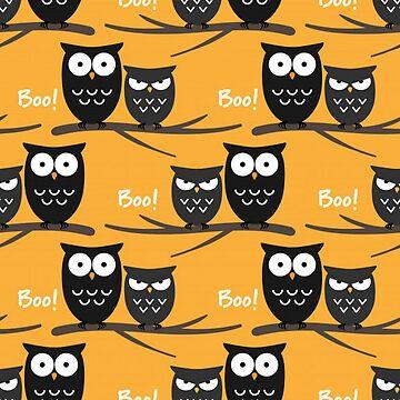Halloween Owls on Bright Orange Background by pugmom4