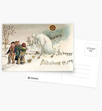 Creepy Victorian Christmas Snowman  Postcards