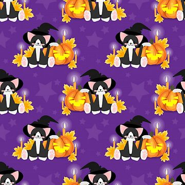 Cute Halloween Cat on Purple Background by pugmom4
