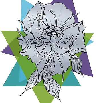 Colored Triangles Peonies Tattoo Design by Tamz-T