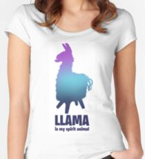 Fortnite Llama is my spiritual animal Women's Fitted Scoop T-Shirt