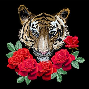 Tiger and Roses by pugmom4