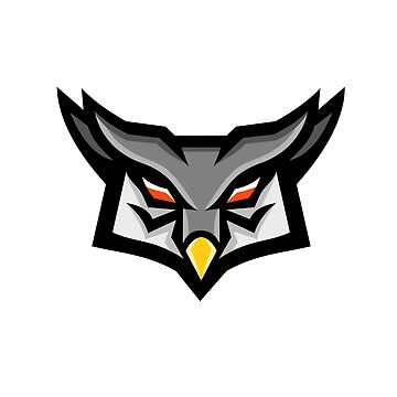 Angry Horned Owl Head Front Mascot by patrimonio