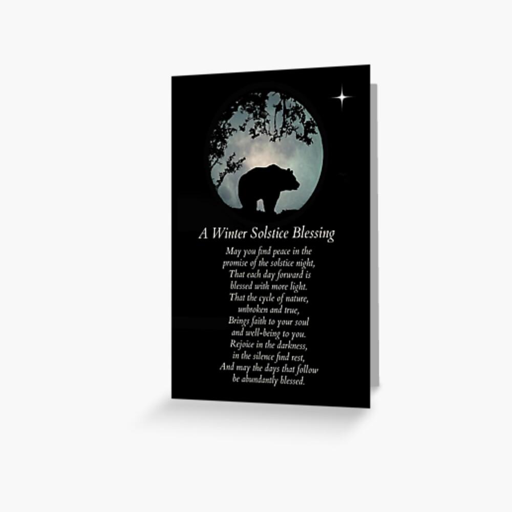Ureinwohner-Winter-Sonnenwende-Segen mit Bären Grußkarte