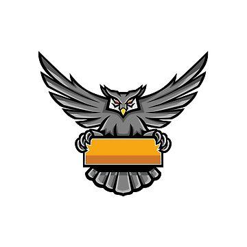 Owl Holding Banner Mascot by patrimonio