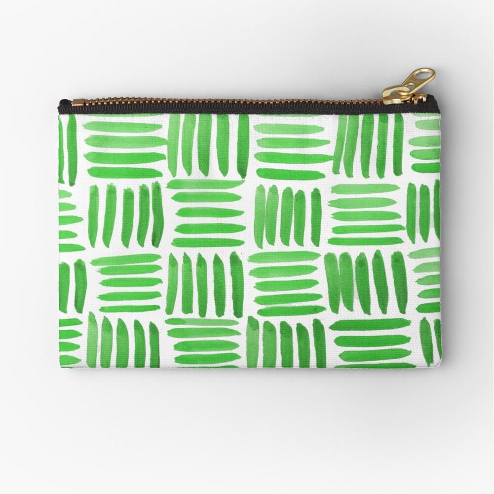 Green Parquet Zipper Pouch