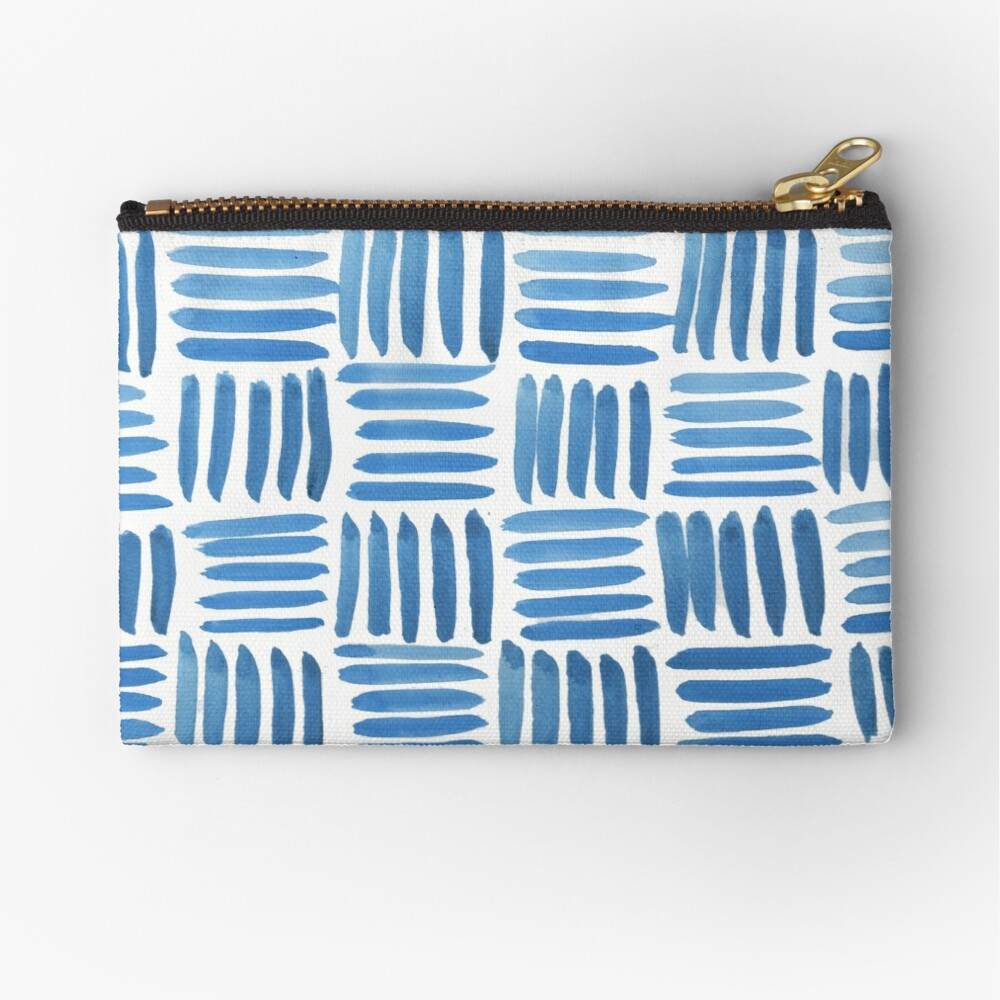 Blue Parquet Zipper Pouch