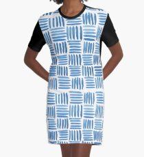 Blue Parquet Graphic T-Shirt Dress