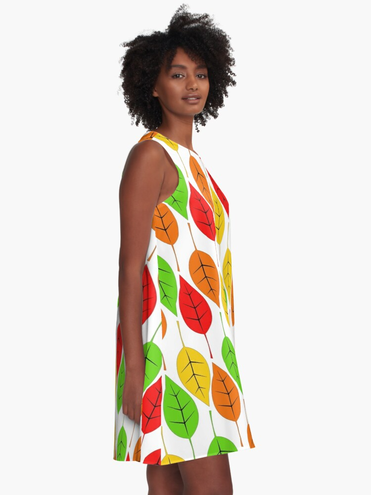 Alternate view of Cascading Autumn Leaves A-Line Dress