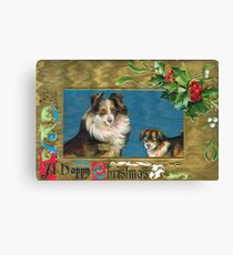 Victorian Christmas Dogs Canvas Print