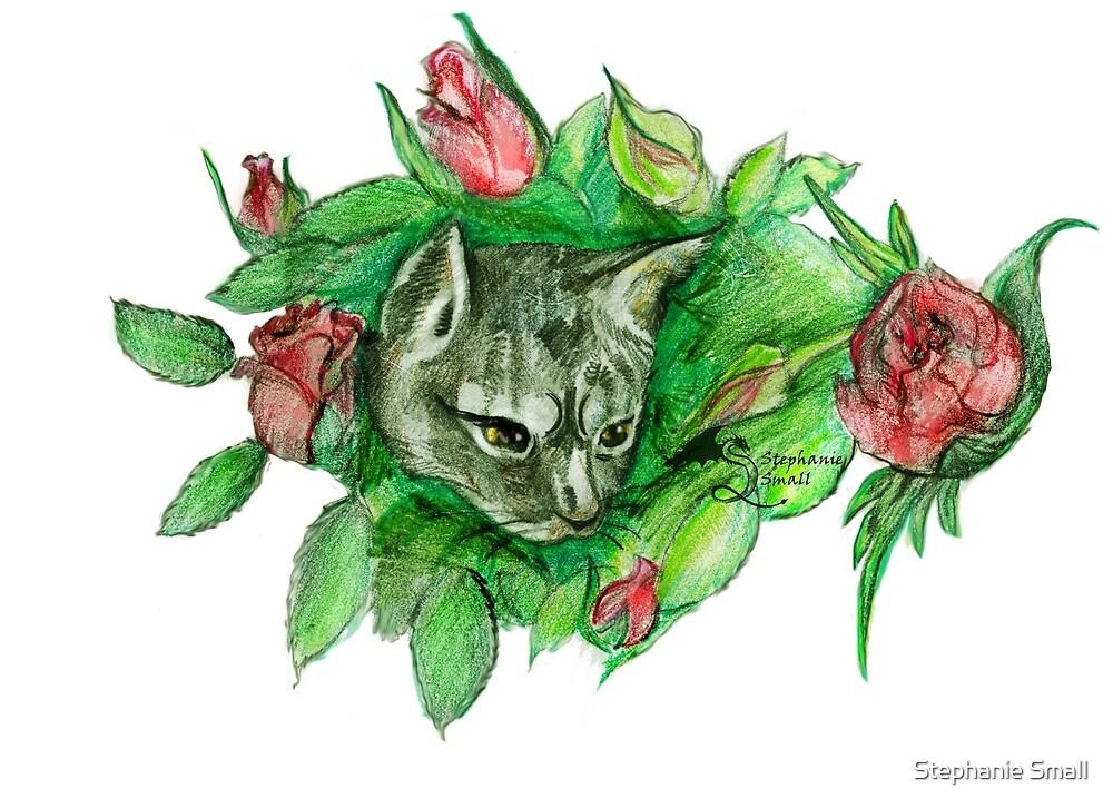 cute cat feline flowers roses by Stephanie Small