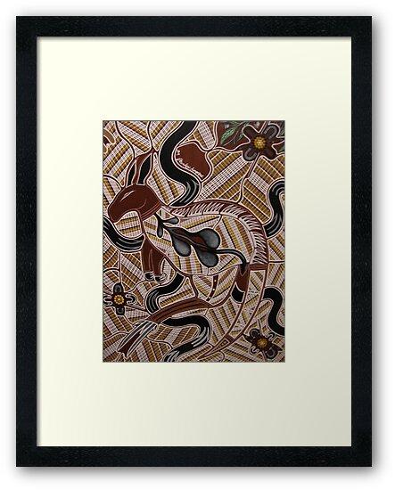 ganhur (red kangaroo) by Australian Aboriginal artist S Hooper by aboriginalart
