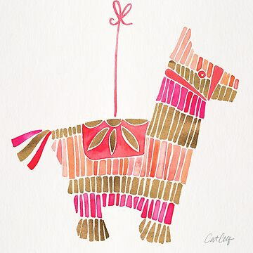 Mexican Donkey Piñata – Pink & Rose Gold Palette by catcoq