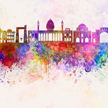 Shiraz skyline in watercolor background by paulrommer