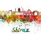 Shiraz Skyline Aquarell Spritzer von paulrommer