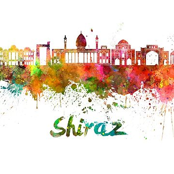 Shiraz skyline watercolor splatters by paulrommer