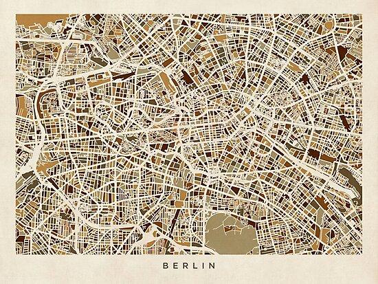 Berlin Germany Street Map by Michael Tompsett