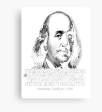 Ben Franklin Shirt Quote, Black, Pro Gun, Liberty, 1776, Founding Fathers, 1776 Canvas Print