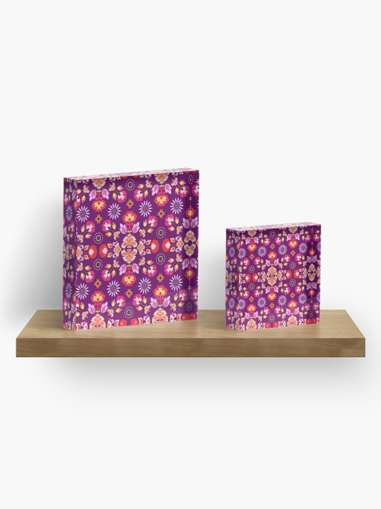 Alternate view of Fiesta Folk Purple #redbubble #folk Acrylic Block