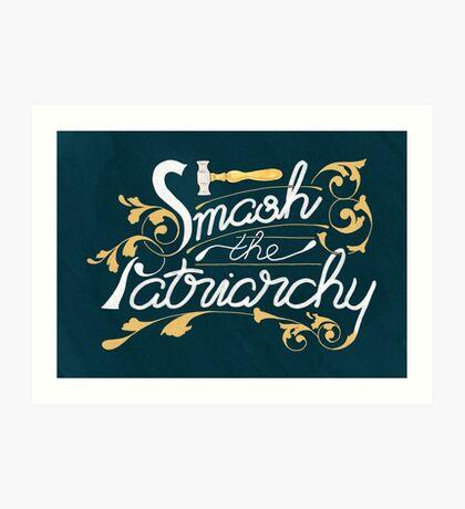 Smash the Patriarchy Feminist Art Nouveau Calligraphy Illustration Art Print