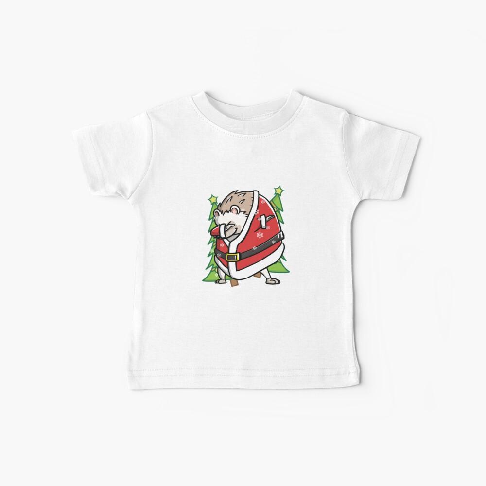 Funny Hedgehog Dabbing Through The Snow Dab Christmas Baby T-Shirt