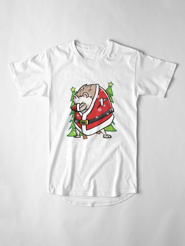 Alternate view of Funny Hedgehog Dabbing Through The Snow Dab Christmas Long T-Shirt
