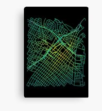 Bunker Hill, LA, USA Colored Street Network Map Graphic Canvas Print