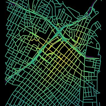 Bunker Hill, LA, USA Colored Street Network Map Graphic by ramiro