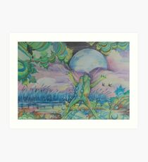 The Blue Moon Frog Art Print