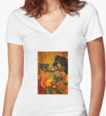 Sci-fi shooter Women's Fitted V-Neck T-Shirt