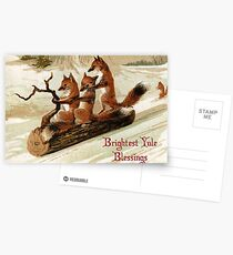 Victorian Sledding Foxes Solstice Greeting Postcards