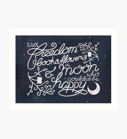 Oscar Wilde Moon Books Quote Calligraphy Stars Art Print
