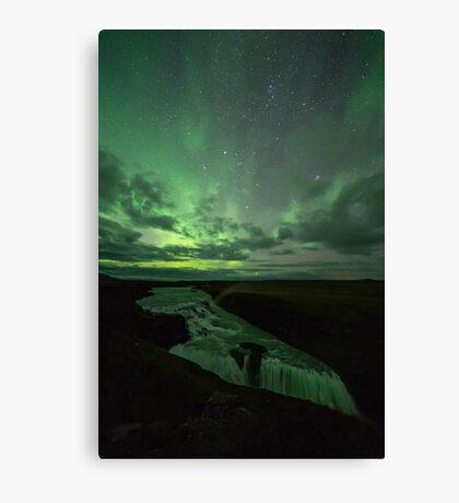 Gullfoss under the Northen Lights - Iceland Canvas Print