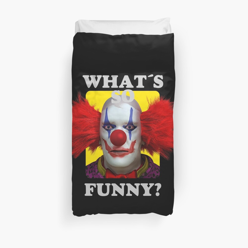 Quot What S So Funny Horror Clown Quot Duvet Cover By Mmjdsgn