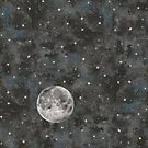 Watercolor Space Stars Moon by Robayre