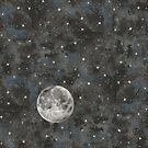 Watercolor Space Stars Moon by Robayre