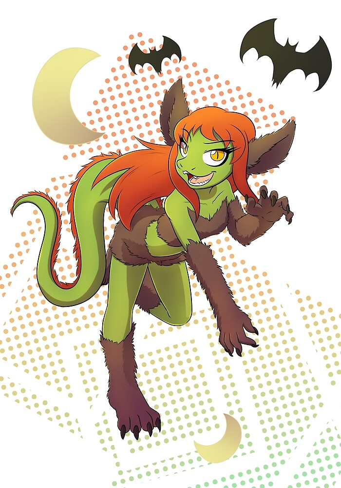 Kaya werebeast Halloween print by DragonKai
