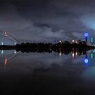 Dallas Foggy Skyline Reflection by josephhaubert