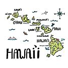 Hawaii Illustrated Map Full Color by Claire Lordon