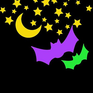 Halloween Moon Stars Bats Fluorescence Colors  by UllUDesign