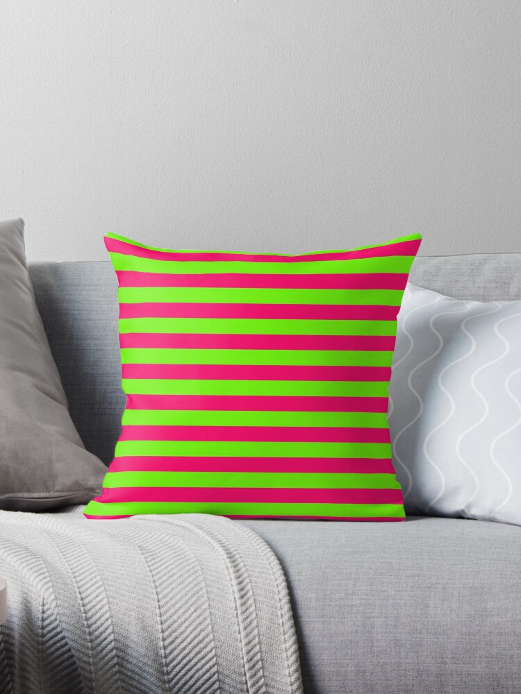 Super Bright Neon Pink and Green Horizontal Beach Hut Stripes by podartist