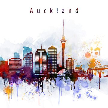 Auckland Cityscape Watercolor by IvonDesign