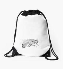 Beneficial Bugs - Black & White Sketch Drawing Honey Bee Drawstring Bag